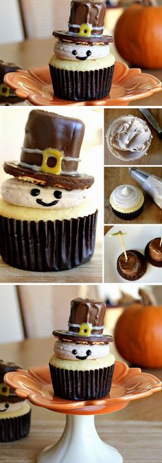Pilgrim Cupcakes | Click Pic for 23 Quick and Easy Thanksgiving Desserts Recipes for Kids | Easy Fall Treats for Kids to Make