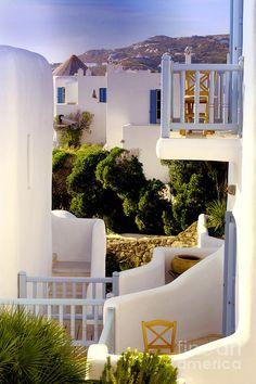 Chair On Balcony In Mykonos, Greece *