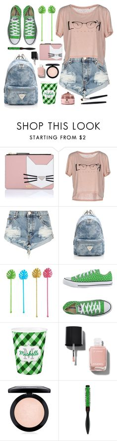 """Get the Look"" by julesdiaries ❤ liked on Polyvore featuring Karl Lagerfeld, ONLY, One Teaspoon, Converse, Chanel, MAC Cosmetics, Denman, GetTheLook and Summer"