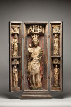 Un retable en albâtre anglais de la Vierge à l'Enfant, avec  les saintes Catherine d'Alexandrie, Apollonia, Marguerite d'Antioche, et Marie-Madeleine.  Angleterre.  c. 1440-1460 (avant 1461).   62 x 19 x 6 cm (Vierge à l'Enfant); 25 x 7 x 3 cm ( Saintes); albâtre