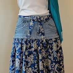 Distressed Long Jean Skirt – Made to Order Upcycled Long Jean Skirt Jean Skirt -Upcycled Denim and Printed Cotton The post Distressed Long Jean Skirt – Made to Order Upcycled Long Jean Skirt appeared first on Welcome! Short Jean Skirt, Short Jeans, Blue Jean Skirts, Denim Ideas, Denim Crafts, Refashioning, Jeans Rock, Recycled Denim, Diy Clothing