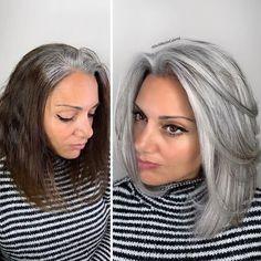 Hairdresser-Gray-Hair-Makeovers-Jack-Martin Natural Hair Wedding, Wedding Hair, Grey Hair Transformation, Curly Hair Styles, Natural Hair Styles, Braided Prom Hair, Gray Hair Highlights, Gray Hair Growing Out, Transition To Gray Hair