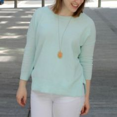 Madewell french Drape Sweater, Pale Sea, XS Worn once, great condition, light weight Madewell Tops