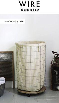 DIY wire laundry hamper.