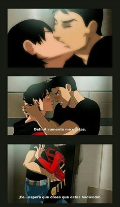 Read Parte 4 :kontim from the story Super Parejas by benjavallejos with reads. Superman X Batman, Deadpool X Spiderman, Conan Comics, Gay Comics, Marvel Comics, Animated Man, Beastboy And Terra, Batman Family, Young Justice