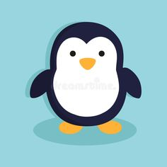 Cute Penguin Cartoon Character in Blue Background Cute Penguin Cartoon, Penguin Logo, Cartoon Art, Cartoon Characters, Arctic Animals, Cute Animals, Christmas Sketch, Penguin Drawing, Hello Kitty Christmas