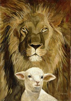 Peace Lion and Lamb Painting