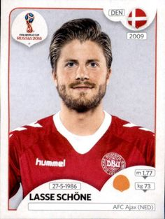 Lasse Schöne - Denmark World Cup Russia 2018, World Cup 2018, Fifa World Cup, Afc Ajax, Jersey Atletico Madrid, Football Stickers, National Football Teams, Football Players, America's Cup