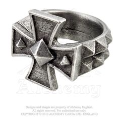 CROSS OF IRON RING BY ALCHEMY OF ENGLAND Iron nail-heads reinforce the Germanic…