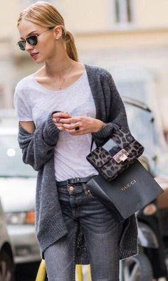 Sasha Luss Goes Classic - slouchy cardigan with a basic white t-shirt and grey skinny jeans