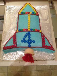 Finished rocket ship cake