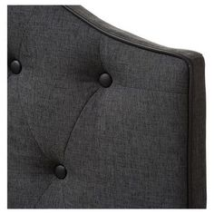 Windsor Modern and Contemporary Fabric Upholstered Scalloped Buttoned Headboard - Queen - Dark Grey - Baxton Studio, Gray