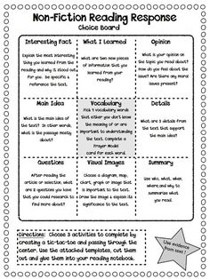 I also like the vocabulary & spelling boards / most common misspelled words lists... The Curious Apple: Non-Fiction Reading Response Choice Boards