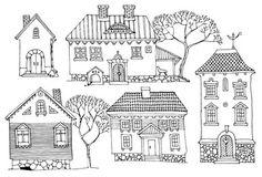Vector: Cartoon hand drawing houses