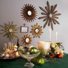 Home Decor:  Bring a little sunshine into your home with sunburst mirrors