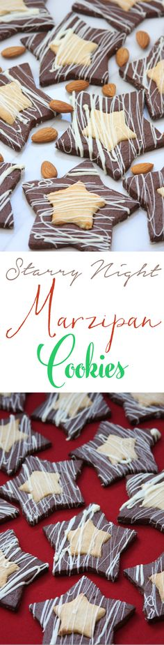Want a cookie that will steal the show at your Holiday party? Starry Night Marzipan Cookies are a chocolate almond sugar cookie with a delectable marzipan filling. Takes about the same amount of prep time as traditional iced sugar cookies. Buttery, nutty, chewy and crispy all at the same time.