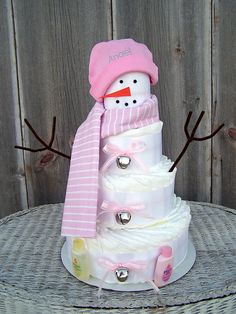 Snowman Themed Diaper Cake for Girls Winter by AllDiaperCakes