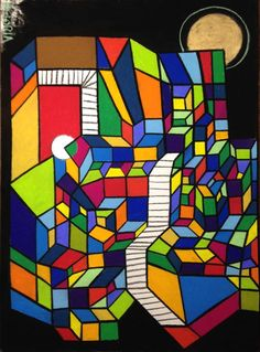 For ME only... is an Original Unique Signature style Fine Artwork by Victoria Blak. This piece was Exhibited in the London Pastel Society 216th annual exhibition in 2015.   This Abstract Cubism art piece is a contemporary work. The medium is Soft Pastels and Charcoal with Oil Pastel detail on Arches fine art cover paper.   The linear, curvilinear structure and well defined perspective give this piece a solid feel. Ultra bright colors are a great addition to any room.  The Cube, Sphere, and…