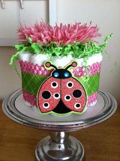 Inspiration. Pink and Green Ladybug Mini Diaper Cake - Baby Girl Shower Gift, Single Tier. $25.00, via Etsy.