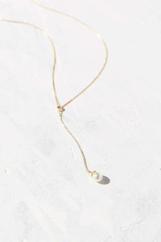 Single Pearl Lariat Necklace
