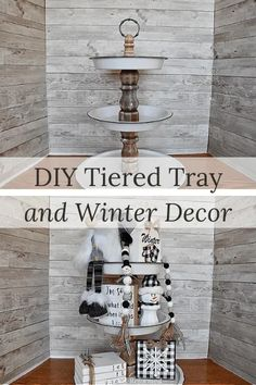 DIY Tiered Tray and Winter Decor Christmas Is Over, Christmas Diy, Home Design, Bronze Spray Paint, Bottom Paint, Wooden Snowflakes, Curtains With Rings, Island, Interior S