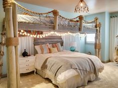 Beach themed bedroom. Everything is sold at IKEA. Love it ...