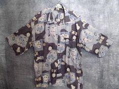 St. Croix Abstract Shirt XL Button Front S/Slvs Blue Black Gray Dressy Casual #StCroix #ButtonFront