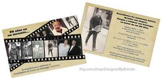 """These vintage style """"In a Flash"""" birthday invitations can hold multiple photos on a filmstrip. Rustic looking. Any age or anniversary: 50th 60th 70th 80th 90th"""