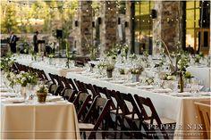 Long family style table setup wedding reception St. Regis Deer Valley
