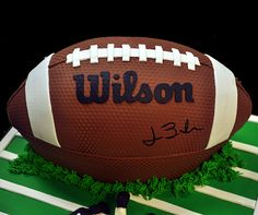 Awesome Football Cake - perfect for end of the season football party or for a groom's cake.