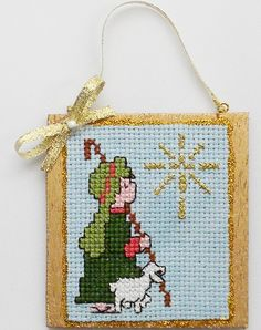 Shepherd Lamb Star Christmas Ornament Completed/Finished Cross Stitch Blue Gold Religious by on Etsy Xmas Cross Stitch, Cross Stitch Christmas Ornaments, Cross Stitch Books, Cross Stitch Needles, Cross Stitch Cards, Beaded Cross Stitch, Christmas Embroidery, Christmas Cross, Cross Stitching