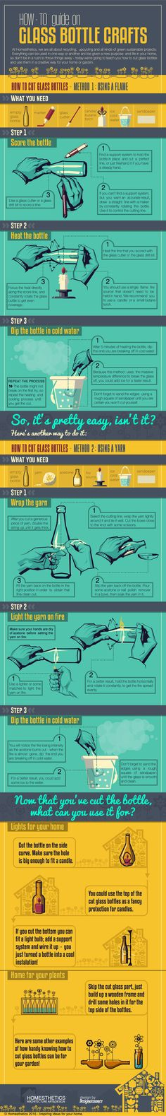 We have all had to get rid of empty glass bottles in the past. You don't have to be a creative genius to repurpose your empty bottles though. This infographic from Homesthetics covers how you can cut glass bottles and use them in a creative way in your home or garden: