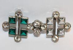 Vintage Art Deco Green Glass Rhinestone Two Piece Belt Buckle