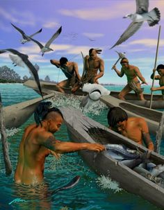 Men of the Tocobaga tribe fishing by Hermann Trappman