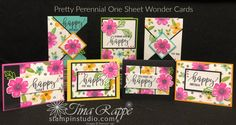 Get the One Sheet Wonder template to make these adorable cards featuring the Pretty Perennials Bundle. One Sheet Wonder, Vine Design, Pretty Cards, Card Sketches, Card Tags, Paper Design, Stampin Up Cards, Fun Projects, Perennials