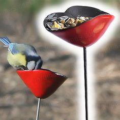 Ceramic poppy bird feeders