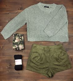 sweater + suede shorts + travel + packing light + capsule wardrobe + flat lay + fall fashion + style