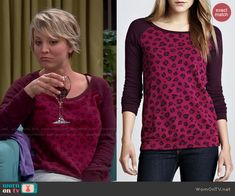 Penny's dark red leopard print sweater on The Big Bang Theory.  Outfit Details: http://wornontv.net/48028/ #TheBigBangTheory