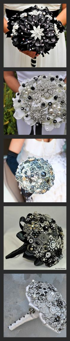 Black Jeweled Bouquets by Blue Petyl #black #wedding #bouquet