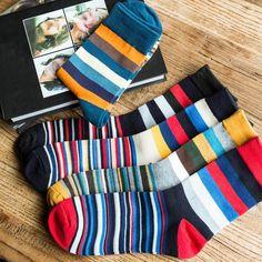 Men's Socks New Arrived Men Happy Socks Colorful Novelty Funny Socks Cotton Autumn Winter Stripe Socks Dress Gentlemen Crew Socks Men To Reduce Body Weight And Prolong Life