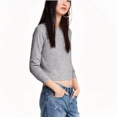 H&M Long Sleeve Ribbed Crop Light gray ribbed cotton crop top. Long sleeves, fit as shown on model. Price is firm, it's NWT and still full price in store. H&M Tops