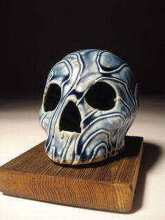 Blue Wood Ash Glazed Slip Trailed Skull