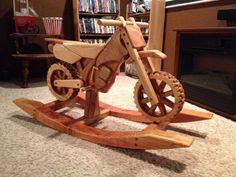 Mike would die if this showed up for baby h!! Wooden Trail Rocker - Rocking Dirt Bike