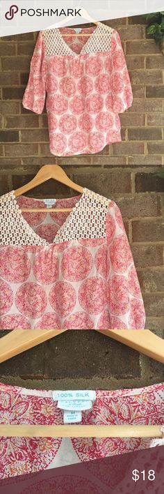 "Calypso St. Barth for Target Silk Lace Blouse Made from 100% silk, this 3/4 sleeve top by Calypso St. Barth for Target is great for summer wear. The medallion print and lace shoulders really make the piece. In great condition. Approximate measurements lying flat: Bust 22.5"", Length 28"" 10543 Calypso St. Barth for Target Tops Blouses"