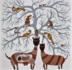 Recent work in Gond art #gond #animals #dots #graphicalgond #moderngond