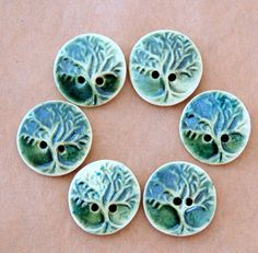 6 Handmade Stoneware Buttons  Tree of Life Buttons  by beadfreaky, $12.75