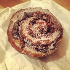 Day #350 - flaky cinnamon bun by @violetcakes brought home from #fifteenkerbxmas
