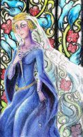 Charlotte in the church by cows-love-clover Pencil crayon illustration for my manga Die Nachtwueste.
