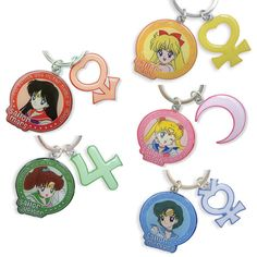 Each of these vibrant metal keychains are adorned with Sailor Moon character art of a Sailor Scout, her symbol, her name, and even a signature phrase of hers! The keychain is made of metal and is durable yet also lightweight. The colors are vivid and the lines are clear so it looks beautiful from up close or far away. You can attach it to your keyring or use the attached lobster clasp to clip to a...