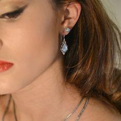 Rainbow Moonstone Sterling Silver Earrings by Bluemoonstone Creations (BluemoonstoneJewel on Etsy)